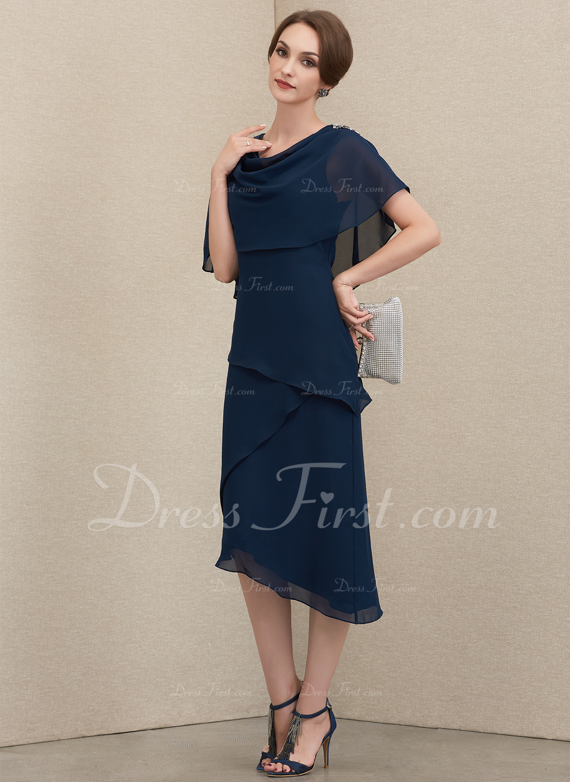 A-Line Cowl Neck Asymmetrical Chiffon Cocktail Dress With Beading Sequins