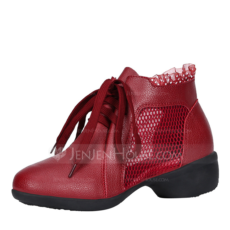 ed0d5c69e68 Women's Leatherette Lace Mesh Boots Sneakers Modern Jazz Sneakers ...