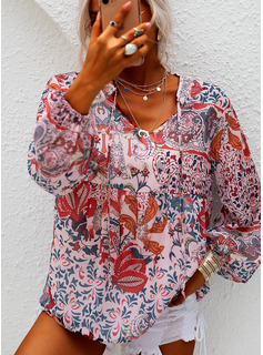 Floral Print V-Neck Lantern Sleeve Long Sleeves Casual