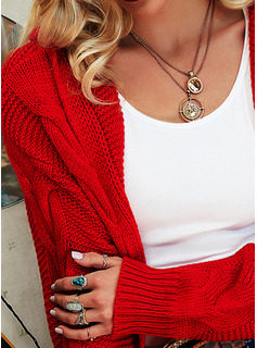 Hooded Casual Solid Cable-knit Sweaters