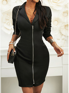 Solid Bodycon Long Sleeves Mini Little Black Casual Elegant Dresses