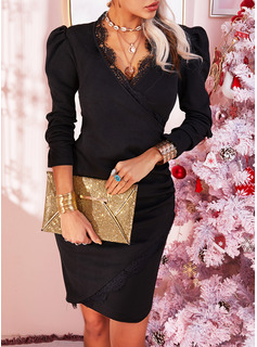 V-Neck Casual Long Lace Solid Sweaters