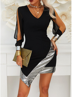 Sequins Bodycon Long Sleeves Split Sleeve Mini Little Black Party Sexy Dresses