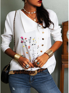 Floral Print Lapel Long Sleeves Button Up Casual Blouses