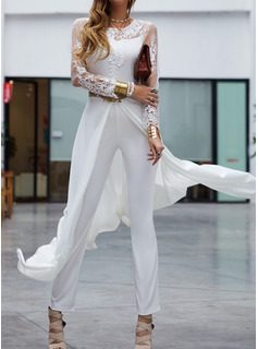 Lace Solid 3/4 Sleeves Party Elegant Jumpsuits Dresses