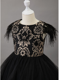 Ball-Gown/Princess Asymmetrical Flower Girl Dress - Tulle Short Sleeves Scoop Neck With Lace/Feather