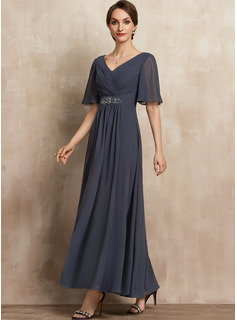 A-Line V-neck Ankle-Length Chiffon Evening Dress With Ruffle Beading Sequins