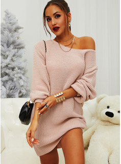 One Shoulder Casual Long Solid Sweaters