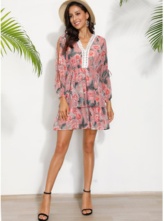 Print A-line Cold Shoulder Sleeve Long Sleeves Mini Casual Skater Dresses