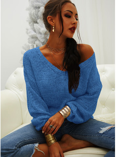 V-Neck Casual Solid Sweaters