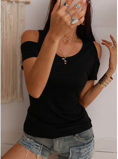 Lace Solid Cold Shoulder Short Sleeves Casual Sexy