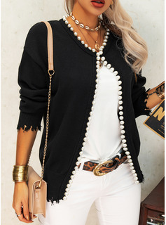Round Neck Casual Beaded Solid Sweaters