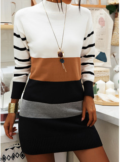 Stand collar Casual Long Color Block Striped Sweaters