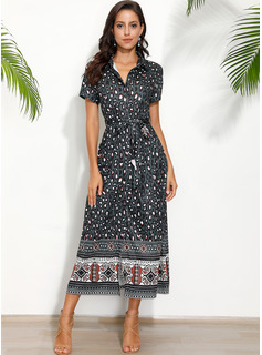 Maxi V neck Polyester/Cotton Print Short Sleeves Fashion Dresses