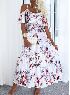 Floral Print A-line 1/2 Sleeves Maxi Casual Skater Dresses
