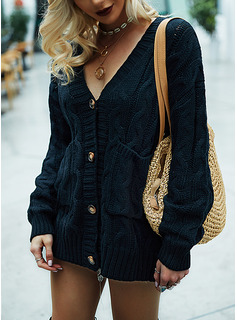 V-Neck Casual Long Solid Cable-knit Pocket Sweaters