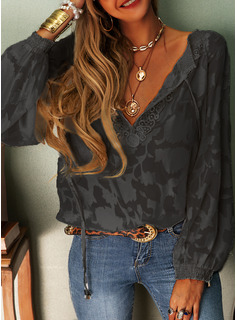 Lace Solid V-Neck Long Sleeves Casual