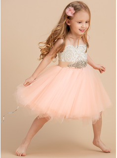 A-Line Knee-length Flower Girl Dress - Satin/Tulle/Lace Sleeveless Scoop Neck With Beading (Undetachable sash)