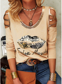 Beaded Leopard Figure Print Cold Shoulder Long Sleeves Casual Blouses