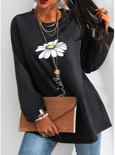 Floral Print Round Neck Long Sleeves Casual T-shirt