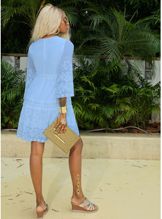Lace Solid V-Neck 3/4 Sleeves Mini Dresses