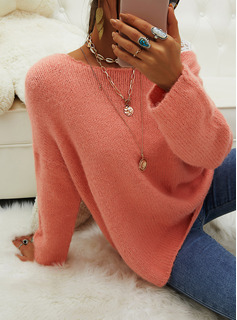 Round Neck Casual Solid Sweaters