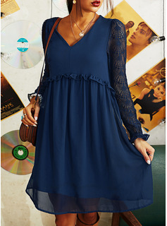 Lace Solid Shift Long Sleeves Midi Casual Tunic Dresses