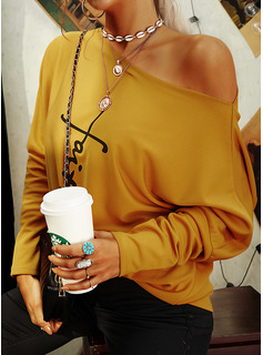 Figure Print One Shoulder Long Sleeves Casual Blouses