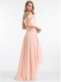 A-Line Off-the-Shoulder Asymmetrical Chiffon Prom Dresses With Sequins