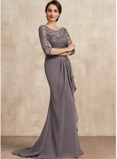 Trumpet/Mermaid Scoop Neck Sweep Train Chiffon Lace Mother of the Bride Dress With Cascading Ruffles