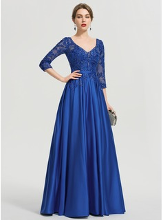 Ball-Gown/Princess V-neck Floor-Length Satin Prom Dresses With Sequins