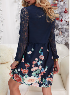 Floral Lace Print Shift Long Sleeves Midi Casual Tunic Dresses