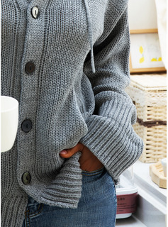 Hooded Casual Solid Chunky knit Sweaters