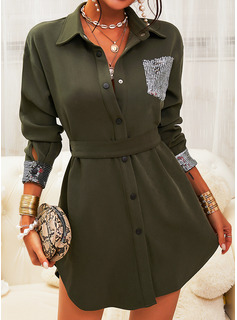Sequins Solid Sheath Long Sleeves Mini Casual Shirt Dresses