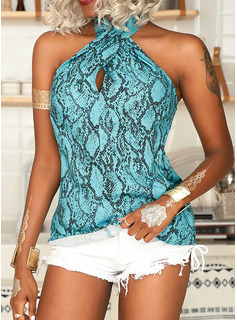 Print Sleeveless Polyester Stand collar Tank Tops Blouses