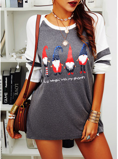 Print Round Neck Long Sleeves Casual Christmas T-shirt