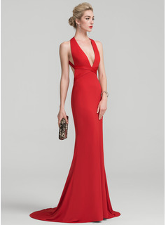 Trumpet/Mermaid V-neck Sweep Train Jersey Prom Dresses