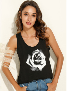 Print Floral Sleeveless Polyester Round Neck Tank Tops Blouses