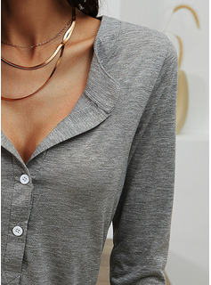 Solid V-Neck Long Sleeves Basic Button Up Casual Blouses