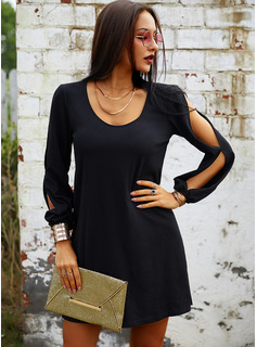 Solid Shift Cold Shoulder Sleeve Long Sleeves Mini Little Black Casual Vacation Tunic Dresses