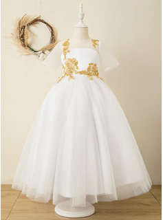 Ball-Gown/Princess Ankle-length Flower Girl Dress - Satin/Tulle/Lace Short Sleeves Scoop Neck With Appliques