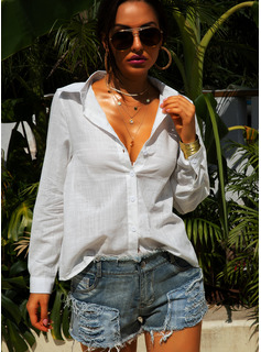 Solid Long Sleeves Cotton Linen Lapel Shirt Blouses Blouses