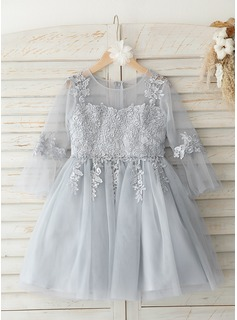 A-Line Knee-length Flower Girl Dress - Tulle/Lace 3/4 Sleeves Scoop Neck