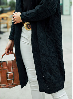 Hooded Casual Long Solid Cable-knit Sweaters