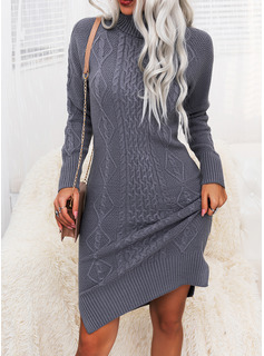 Turtleneck Casual Long Tight Solid Cable-knit Sweaters