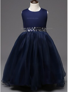 Ball Gown Ankle-length Flower Girl Dress - Cotton Blends Sleeveless Scoop Neck With Bow(s)/Rhinestone