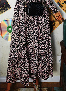 Leopard A-line Long Sleeves Maxi Casual Skater Dresses
