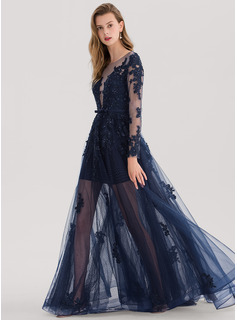 A-Line/Princess Scoop Neck Floor-Length Tulle Prom Dresses With Beading Sequins