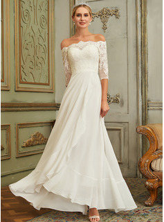 A-Line Off-the-Shoulder Floor-Length Chiffon Lace Wedding Dress With Lace Sequins