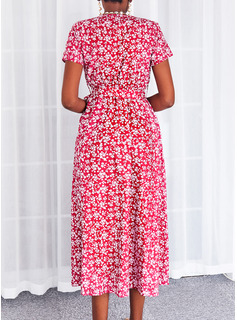 Floral Print A-line Short Sleeves Maxi Casual Skater Wrap Dresses